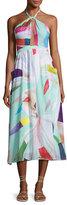 Mara Hoffman Halter Printed Organic Cotton Coverup Midi Dress, Light Blue Multicolor