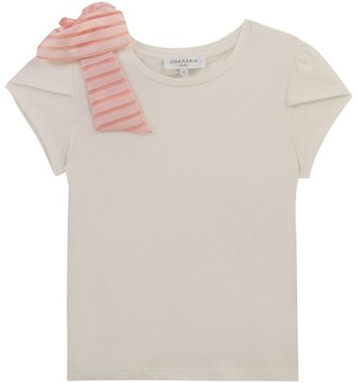 Charabia Striped Bow-Detail T-Shirt (3-14 Years)