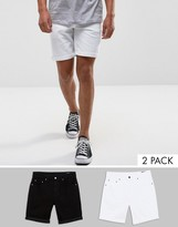 Asos 2 Pack Slim Denim Shorts In White And Black Save