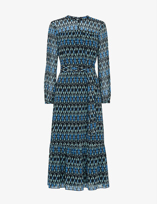 Whistles Ikat-print crepe midi dress