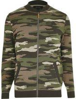 River Island MensDark green camo bomber jacket