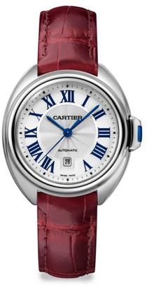 Cartier Cle de Stainless Steel & Red Alligator-Strap Watch/31MM