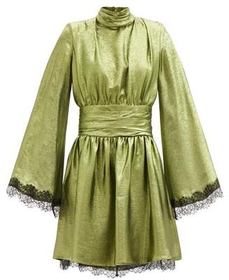 Dundas Wide-sleeve Lace-trimmed Silk-blend Lame Dress - Green