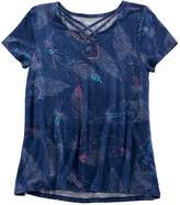 Mudd Girls 7-16 & Plus Size Cage Front Feather Print Tee