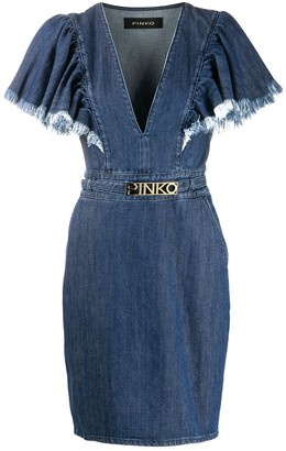 Pinko Frayed Sleeve Denim Dress