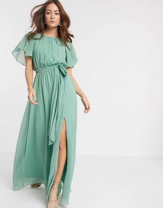 Goddiva Goddvia tie waist maxi dress in sage green