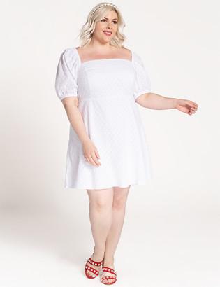 ELOQUII Puff Sleeve Square Neck Dress