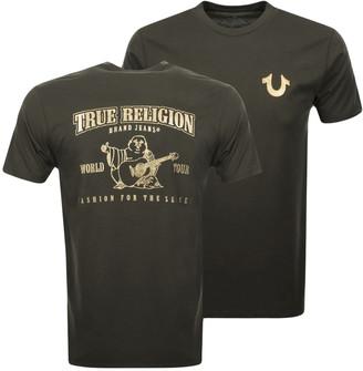 True Religion Metallic Buddha T Shirt Green