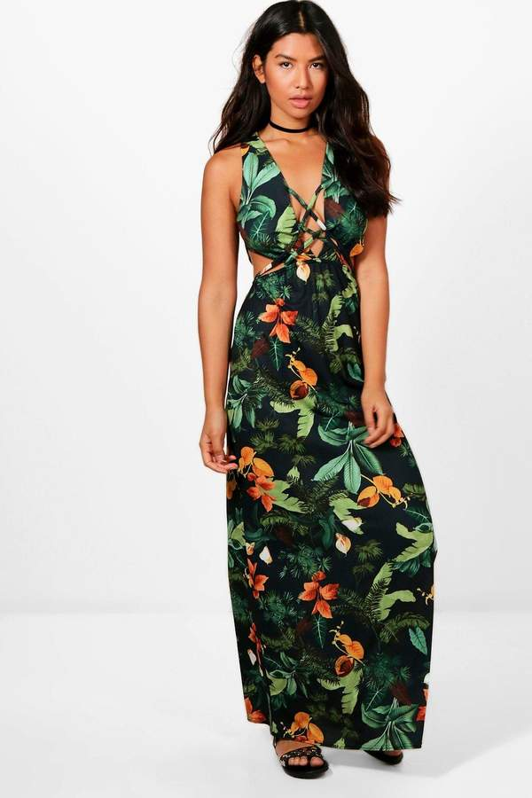 boohoo Tia Tropical Print Cut Out Strappy Front Maxi Dress