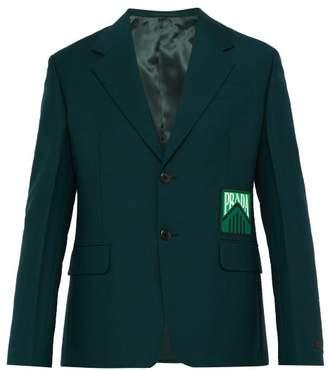 Prada Logo-embossed Mohair-blend Blazer - Mens - Green