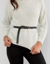 Pieces Avery Leather Plaited Belt