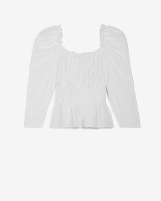 Express Smocked Puff Sleeve Top