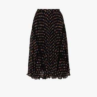 See by Chloe Floral Print Pleated Midi Skirt