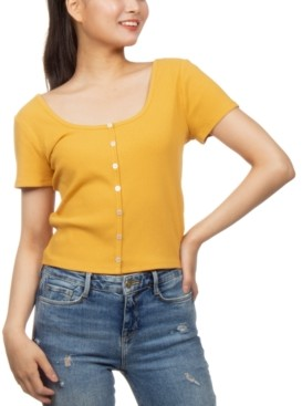 Hippie Rose Juniors' Button-Front Crop Top