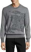Burberry Equestrian Knight Cashmere Sweater, Light Gray Melange