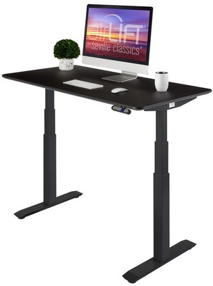 Seville Classics AIRLIFT Black S3 Electric Standing Desk Frame With 54 in Top, Dual Motors