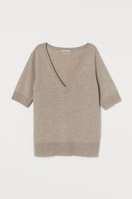 H&M V-neck Cashmere Sweater - Beige
