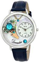 Whimsical Watches Birthstone: December Navy Blue Leather and Silvertone Unisex Quartz Watch with White Dial Analogue Display and Multicolour Leather Strap U-0910012