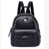 Barbie Fashion Women Leather Leather Rivet Travel Commuter Casual Backpack Bags BBBP104.01A