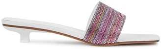 BY FAR Ceni 25 crystal-embellished white leather sandals