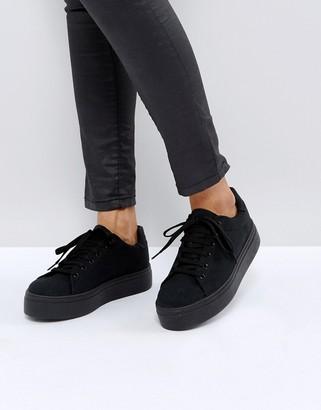 Asos Design DESIGN Day light chunky flatform lace up trainers-Black