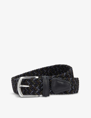 Andersons Woven stretch-elastic and leather belt
