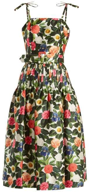 Oscar de la Renta Floral Print Silk And Cotton Blend Dress - Womens - Green Multi