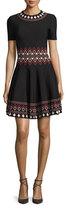 Alexander McQueen Short-Sleeve Flared Tribal-Knit Dress, Black/Multi