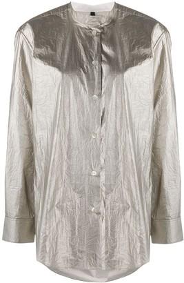 Sara Lanzi Metallic Mandarin Collar Shirt