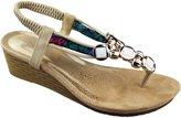 KOLLACHE Womens Wedge Heel Sandals Ladies Diamante Summer Wedding Shoes