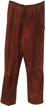 Ungaro Parallele Burgundy Leather Trousers for Women Vintage