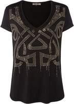Biba Logo studded v neck t-shirt