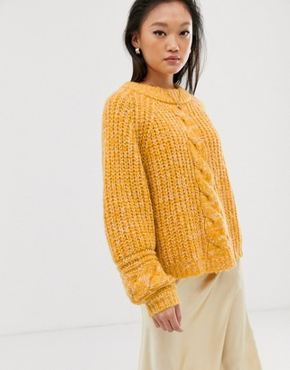 Gestuz Zia cable knit jumper-Yellow