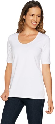 Belle By Kim Gravel Belle by Kim Gravel TripleLuxe Elbow Sleeve Scoop Neck Top