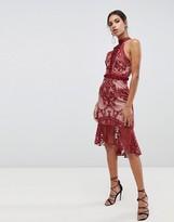True Decadence high neck peplum hem lace pencil dress in berry