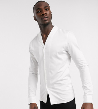 Asos DESIGN Tall slim fit sateen shirt with shawl collar in white