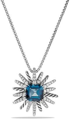 David Yurman Starburst Necklace with Diamonds and Hampton Blue Topaz in Silver