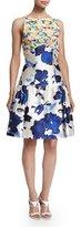 Oscar de la Renta Floral-Motif Mixed-Media Dress, Marine Blue
