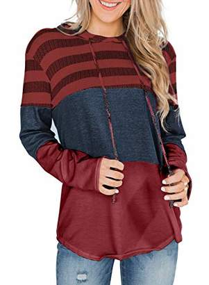 Actloe Women Long Sleeve Striped Color Block Casual Hoodies Loose Patchwork Pullover Sweatshirt Knit Tops