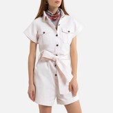 La Redoute Collections Cotton Utility Playsuit with Tie Belt