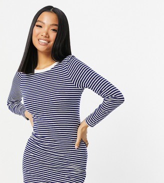 Brave Soul Petite cilli striped long sleeve t-shirt dress in navy
