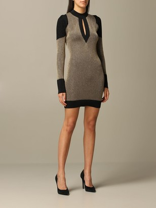 Just Cavalli Dress In Lurex Ribbed Knit