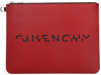 Givenchy Large Zipped Clutch In Red Leather