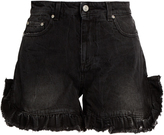 MSGM Ruffled-hem denim shorts