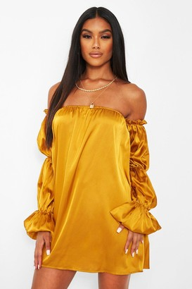 boohoo Satin Puff Sleeve Smock Dress