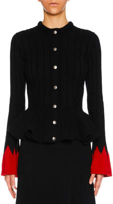 Alexander McQueen Snap-Front Ribbed Wool-Blend Sweater w/ Contrast Cuffs