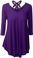 Romanstii Womens V-Neck Long Sleeve Shirt Flowy Loose Casual Tunic Tops 3XL