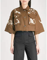 RED Valentino Monkey-motif cropped cotton-drill jacket