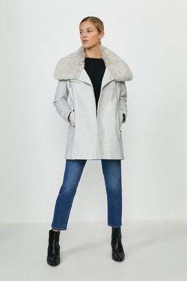 Coast Faux Fur Collar Zip Up Coat