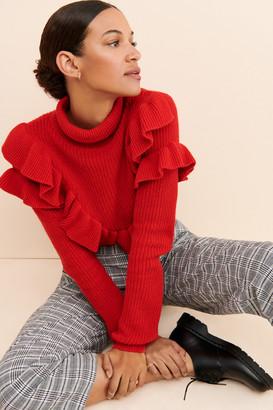 Glamorous Ruffled Red Sweater